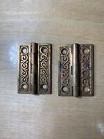 """Antique Hardware Hinges Ornate Cast Bronze Circa 1880's 2""""x1-1/4"""""""