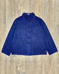 Veste Bleu De Chine Anticher, Lavée Et Teintée, Vintage, Coupe Courte