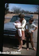 1960s Kodachrome photo slide Dodge Car automobile  in driveway #2  Texas plate