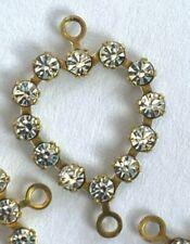 S186 - 50 Set w/ Swarovski Rhinestones - Crystal 2-Eye Heart Shape Links - 12x18