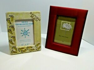 Lot of 2 Picture Frames Daytona Beach Frame Sand Color & Fabric Frame Size 4 X 6