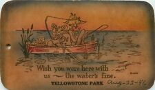 Vintage Leather Postcard; Fishing, The Water's Fine, Yellowstone National Park