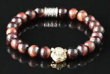 Rouge Oeil de Tigre 8mm Bracelet Perles or Tête