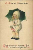 Christmas - Unsigned Clapsaddle -Girl w/ Umbrella c1915 Postcard