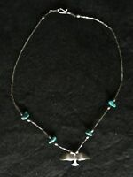 Vintage Choker Necklace SW Turquoise Chips, Bird, and Woven Metal Chain Petite