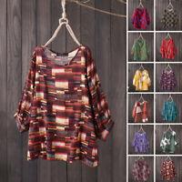 ZANZEA Women 3/4 Sleeve Loose Summer Shirt Blouse Casual Print T-Shirt Tops Plus
