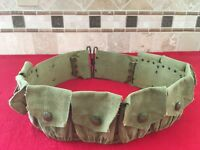 Original M1903 9 Pocket Cartridge Belt With Rimless Eagle Snaps Pea Green