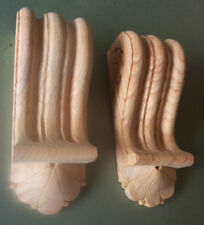 Pair of Reeded Wood Corbels, discounted stock (Seconds) #739