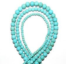 GR1542 3-Strand Blue Turquoise 4mm 6mm 8mm Round Magnesite Gemstone Beads