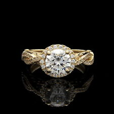 1.75ct Brilliant Round Halo Created Diamond Ring Solid 14K Yellow Gold Band Sz7