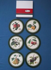 PIMPERNEL ROYAL HORTICULTURAL SOCIETY HOOKER FRUITS SIX ROUND PLACEMATS BOXED