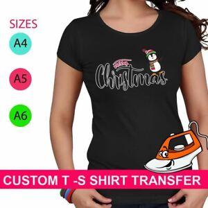 Merry Christmas Print Iron On Fabric Heat Transfer T Shirt Snowman Xmas Novelty