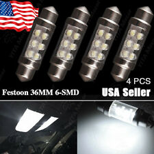 4x Festoon 36mm Cover 6-LED White Bulb License Plate Interior Light SMD C5W 6418