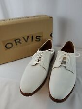 Orvis Classic Mens Size 11.5 D Leather White Bucks Shoes - NEW BOX & FREE SHIP