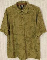 Tommy Bahama Relax Men's Green Floral Hawaiian Short Sleeve Polo Shirt~Medium M