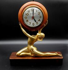 "Vintage 1941 Mastercrafters Art Deco Nude Golden Lady Woman Sessions Clock 13"" H"