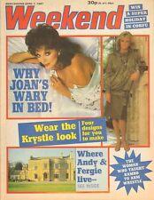 JOAN COLLINS - LINDA EVANS - Vintage British WEEKEND Magazine 1987 C#40