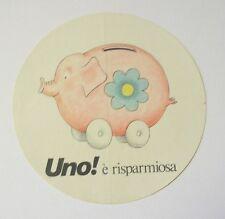 VECCHIO ADESIVO AUTO anni '80 / Sticker FIAT UNO risparmiosa maialino (cm 11)