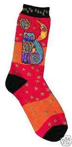 Laurel Burch K.Bell Orange Black Celestial Feline Cats Ladies Pair Socks New