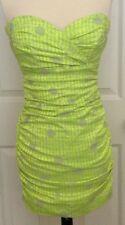 S/S 2013 Nicole Miller Neon Yellow Polka Dot Mini Cocktail Kleid 2 4 $440