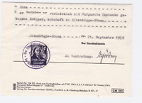 Germany 1959 document  with revenue stamp ref R20043