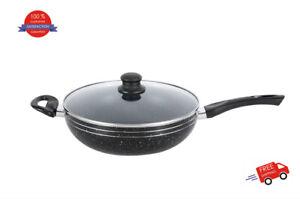 24cm 28cm 30cm 32cm 34cm NON STICK Deep Fry Pan Wok With Glass Lid Induction Hob