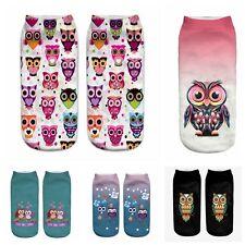 New 3D Print Cute Owl Socks Low Cut Ankle Women Boat Sock Harajuku Ankle Socks