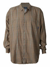Men's Patagonia Flannel Button Up Down Shirt Brown Plaid Fjord Outdoor Camp XXL