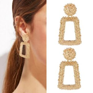 Gold Textured Geometric Drop Square Earrings