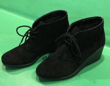 CROCS (LEIGH) DUAL COMFORT BLACK SUEDE WEDGE HEEL BOOTIE ANKLE BOOTS SIZE 7