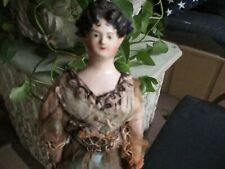 """11 1/2"""" Antique All Original & Early Papier Mache Doll With Great Hairdo"""