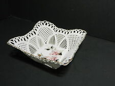 "Cluj Napoca Romania Porcelain Basketweave Bowl Square Florals 5 1/2"" Sq Signed"