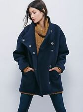 Free People Boiled Wool Cocoon Coat NAVY SZ LARGE NEW