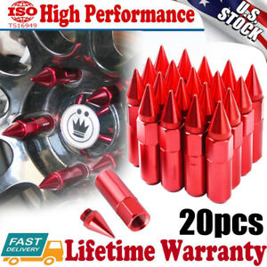20PCS Red Spike Lug Nuts 12X1.5 Cap  Extended Tuner Aluminum Racing Wheels Rims