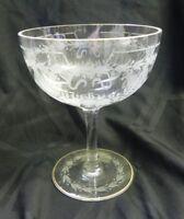 Large Vintage Etched Clear Margarita Glass Stemmed Barware