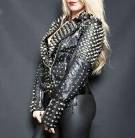 Woman's Spiked Studded Leather Jacket  Black Biker Punk Brando Unique Jacket