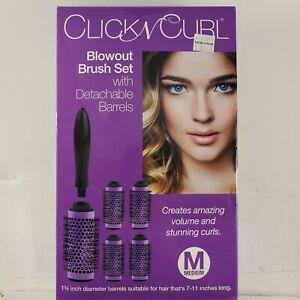 """Click n' Curl Medium Blowout Brush Set 1.75"""" 5 Detachable Barrels & Clip NEW Box"""