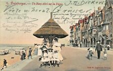 DUINBERGEN WEST FLANDERS BELGIUM~UN BANC-ABRI sur la DIGUE~1906 PHOTO POSTCARD