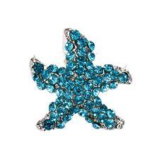 Shiny Sparkle Small Light Ocean Aqua Blue Starfish Women Brooch Pin BR414