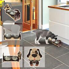 Futterstation Hund - Holz und Edelstahl - Edelstahlnäpfe