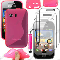 Housse Etui Coque Silicone Rose Samsung Galaxy Y S5360 + Mini Stylet + 3 Films