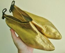 Vintage 1960'S Gold Leather Shoes Slippers Booties 6.5 Narrow
