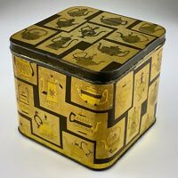 MCM Mid Century Modern Tea Tin Gold Teapot Coffeepot Design Vintage U935