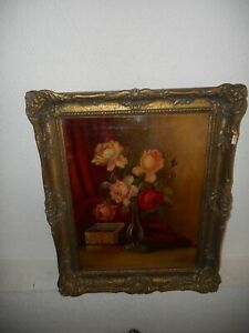 Old oil painting,{  Beautiful roses, is signed, great frame! }.  Is antique!