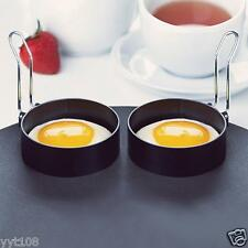 2 PCS Nonstick Stainless Steel Handle Round Egg Rings Shaper Pancakes Molds Ring