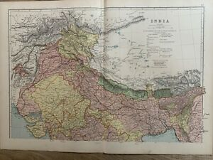 1891 NORTH INDIA LARGE COLOUR MAP BY W.G. BLACKIE 129 YEARS OLD