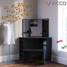 Vicco Eckschminktisch Arielle Bank Spiegel Frisiertisch Kosmetiktisch schwarz