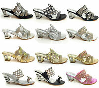 Woman DIAMENT WEDGE HEEL PARTY SANDALS WEDDING PROM  BRIDAL SILVER