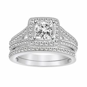 Halo Classic Bridal Ring Set 1.90Ct Square Princess Cut Simulated 925 Silver