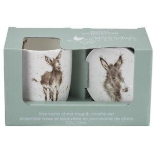 Wrendale Gentle Jack Baby Donkey Mug & Coaster Set Bone China by Royal Worcester